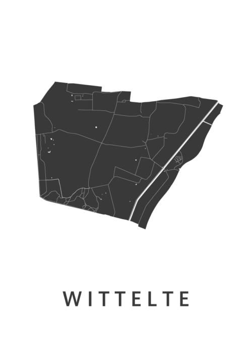 Wittelte White Stadskaart Poster   Kunst in Kaart