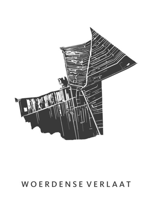 Woerdense Verlaat White City Map stadskaart poster