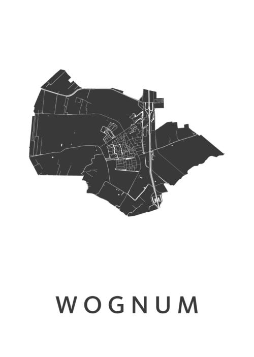 Wognum White Stadskaart poster