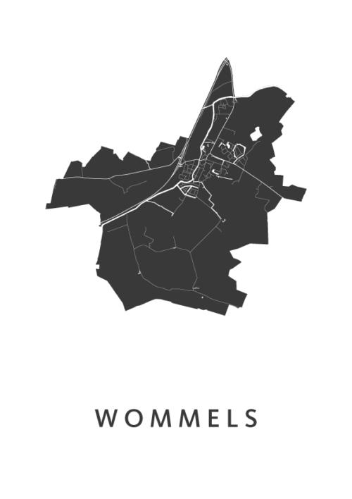 Wommels Stadskaart - Wit | Kunst in Kaart
