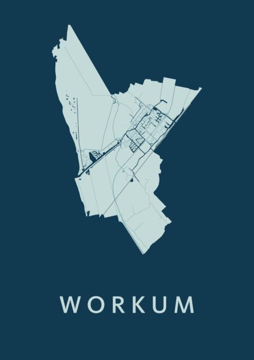 Workum Feldgrau Stadskaart Poster | Kunst in Kaart