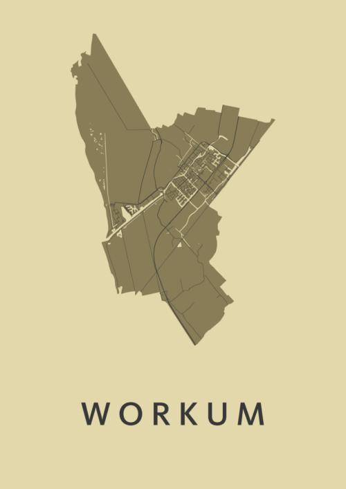 Workum GoldenRod Stadskaart Poster | Kunst in Kaart