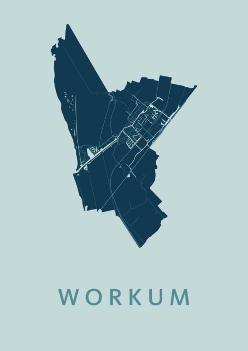 Workum Mint Stadskaart Poster | Kunst in Kaart