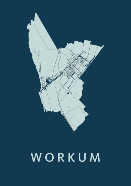 Workum Navy Stadskaart Poster | Kunst in Kaart