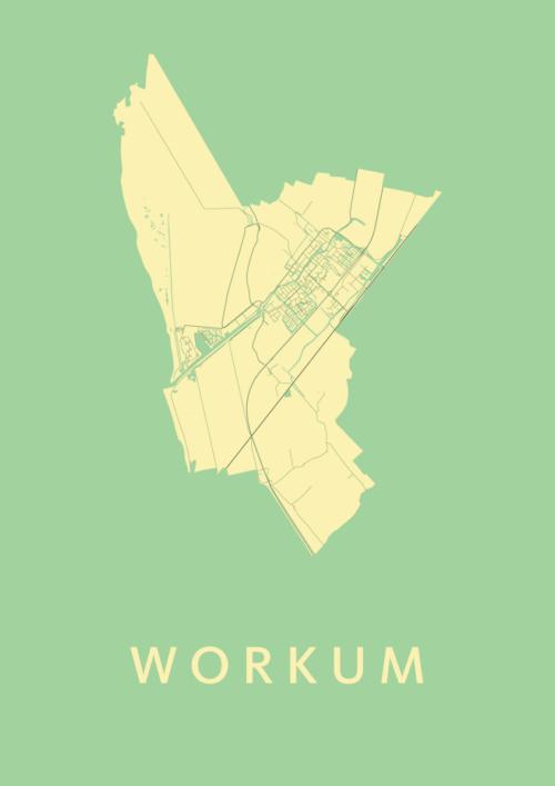 Workum Spring Stadskaart Poster | Kunst in Kaart