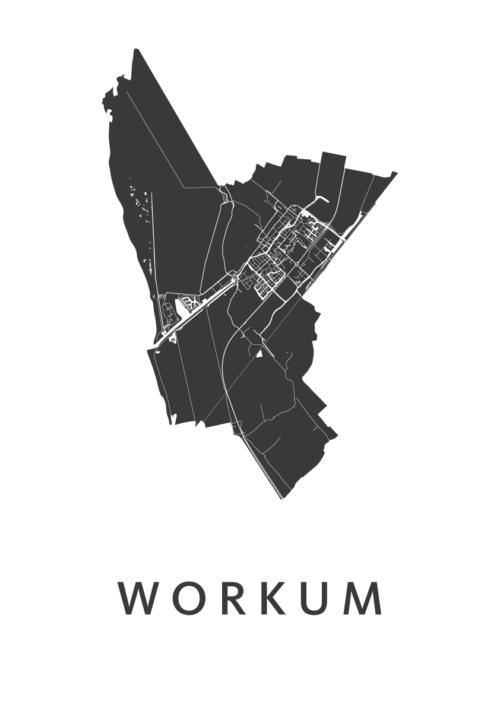 Workum White Stadskaart Poster | Kunst in Kaart