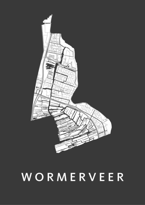 Wormerveer Black Stadskaart Poster   Kunst in Kaart