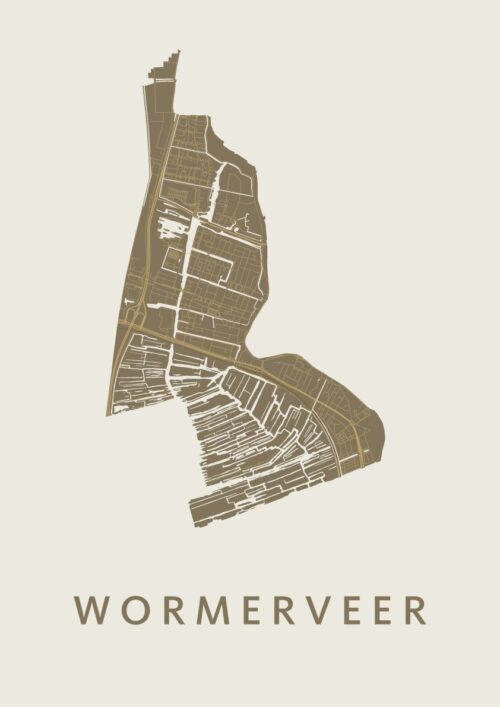 Wormerveer Gold Stadskaart Poster   Kunst in Kaart