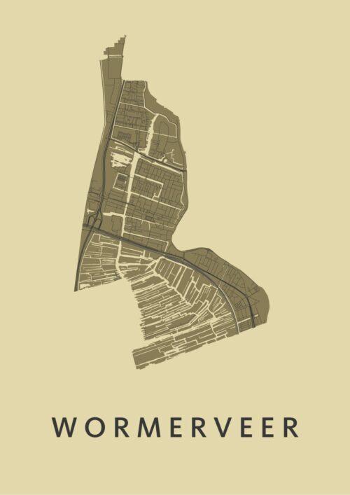 Wormerveer GoldenRod Stadskaart Poster   Kunst in Kaart