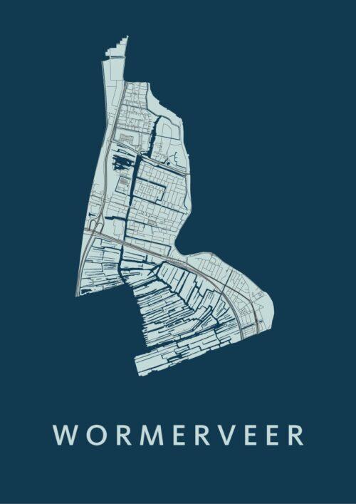 Wormerveer Navy Stadskaart Poster | Kunst in Kaart