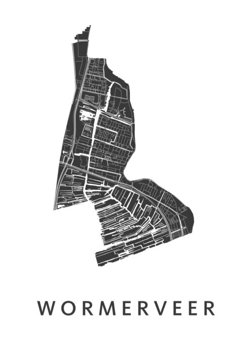 Wormerveer White Stadskaart Poster   Kunst in Kaart