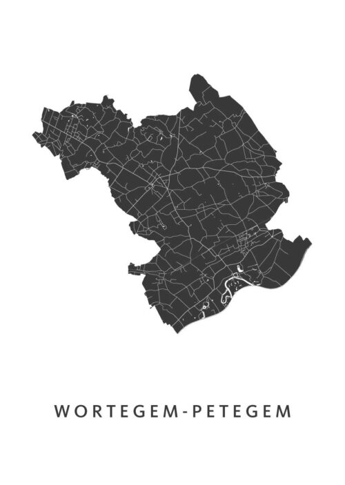 Wortegem-Petegem Stadskaart - Wit