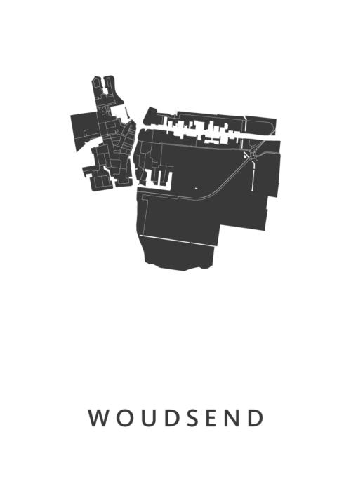 Woudsend White Stadskaart Poster | Kunst in Kaart