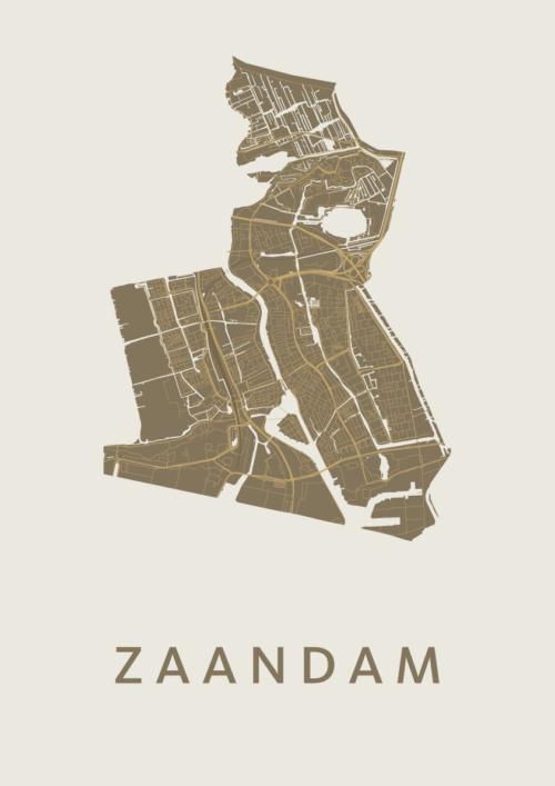 Zaandam Gold Stadskaart Poster   Kunst in Kaart