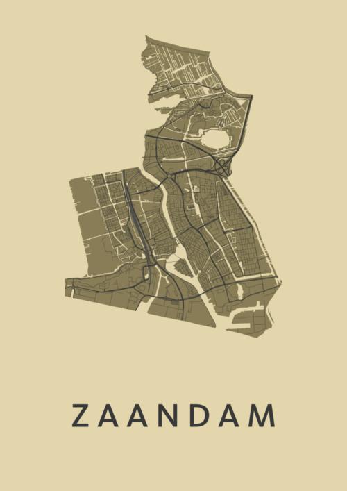 Zaandam GoldenRod Stadskaart Poster | Kunst in Kaart