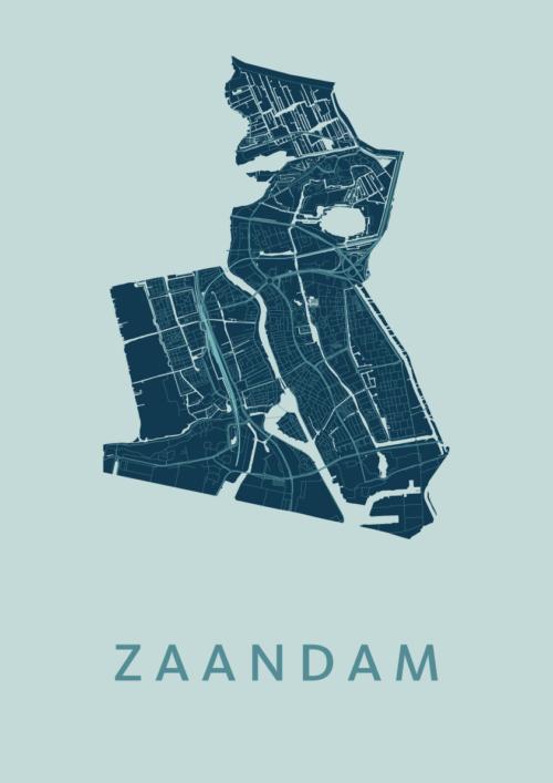 Zaandam Mint Stadskaart Poster | Kunst in Kaart