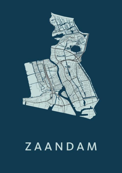 Zaandam Navy Stadskaart Poster | Kunst in Kaart