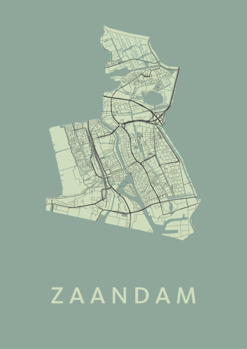 Zaandam Olive Stadskaart Poster | Kunst in Kaart