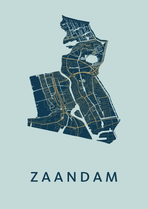 Zaandam Prussian Stadskaart Poster | Kunst in Kaart