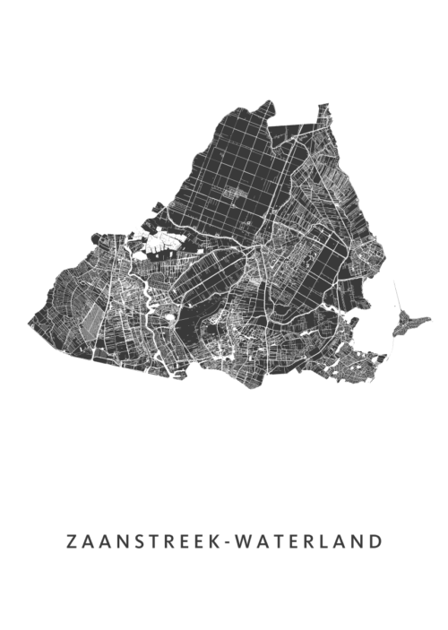 Zaanstreek Waterland Stadskaart poster   Kunst in Kaart