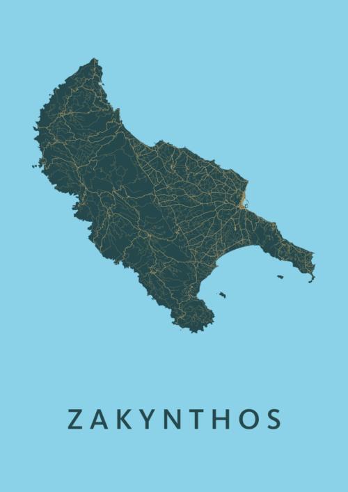Zakynthos Azure A3 stadskaart poster