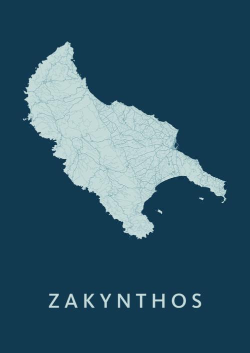 Zakynthos Feldgrau Map stadskaart poster