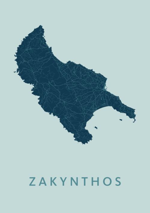 Zakynthos Mint Map stadskaart poster