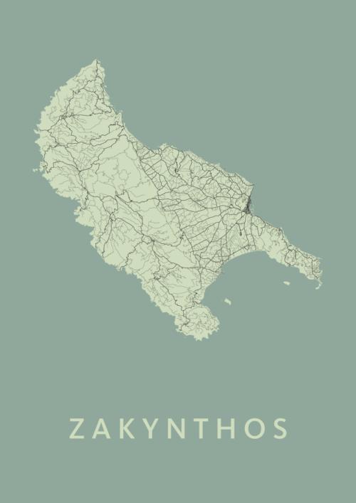 Zakynthos Olive A3 stadskaart poster