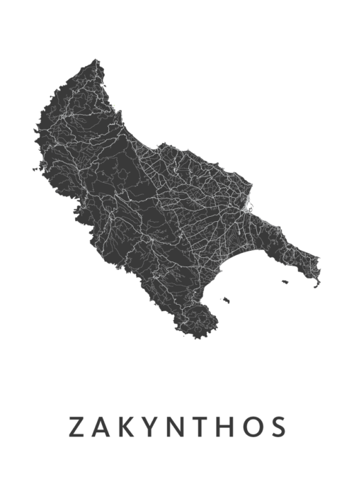 Zakynthos WhiteA3 stadskaart poster