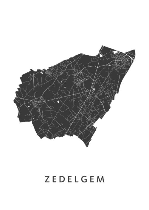 Zedelgem White Stadskaart Poster | Kunst in Kaart