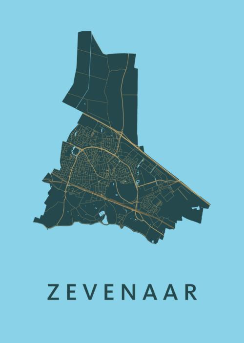 Zevenaar Azure Stadskaart Poster   Kunst in Kaart