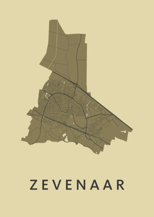 Zevenaar GoldenRod Stadskaart Poster | Kunst in Kaart