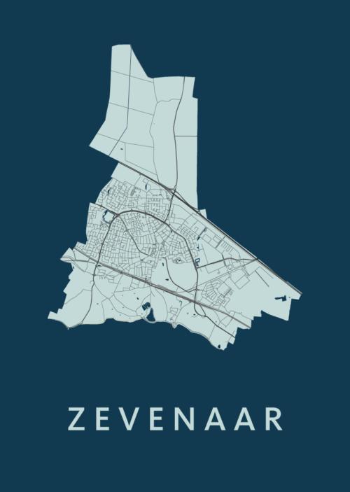 Zevenaar Navy Stadskaart Poster | Kunst in Kaart