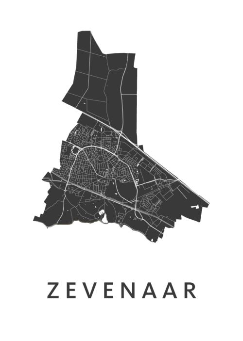 Zevenaar White Stadskaart Poster | Kunst in Kaart
