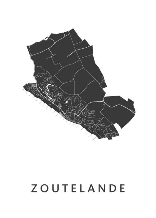 Zoutelande White Stadskaart Poster | Kunst in Kaart