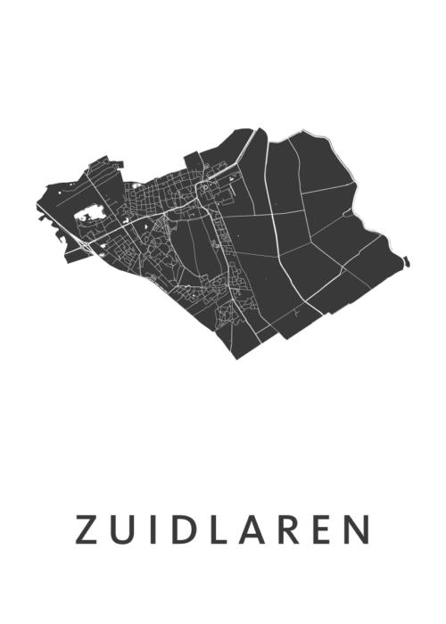 Zuidlaren White Stadskaart Poster | Kunst in Kaart