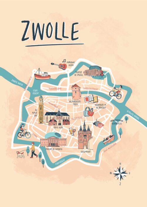 Geïllustreerde kaart - Zwolle