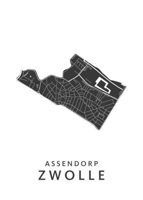 Zwolle - Assendorp Wijkkaart - wit