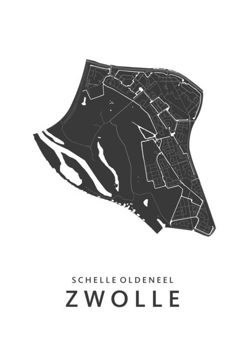 Zwolle Schelle-Zuid en Oldeneel wijkkaart wit