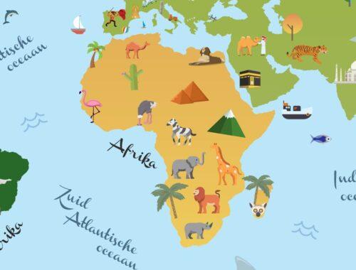 Wereldkaart voor kinderen - Afrika