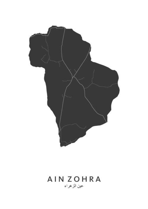 Ain Zohra Stadskaart - Wit   Kunst in Kaart