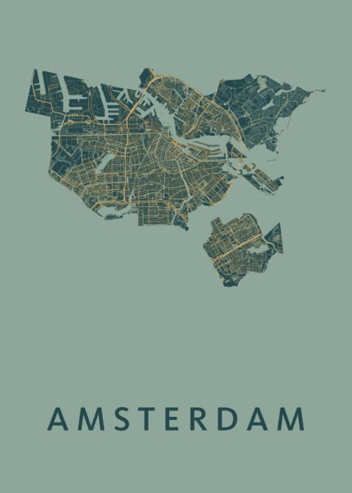 Amsterdam Amazon Stadskaart Poster | Kunst in Kaart
