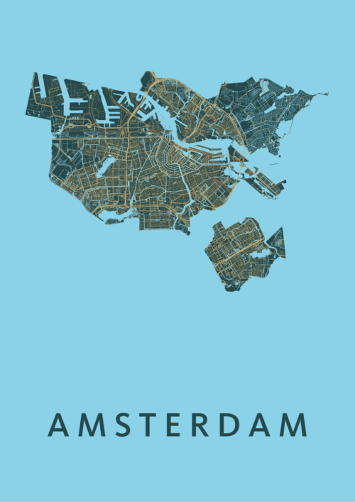 Amsterdam Azure Stadskaart Poster | Kunst in Kaart