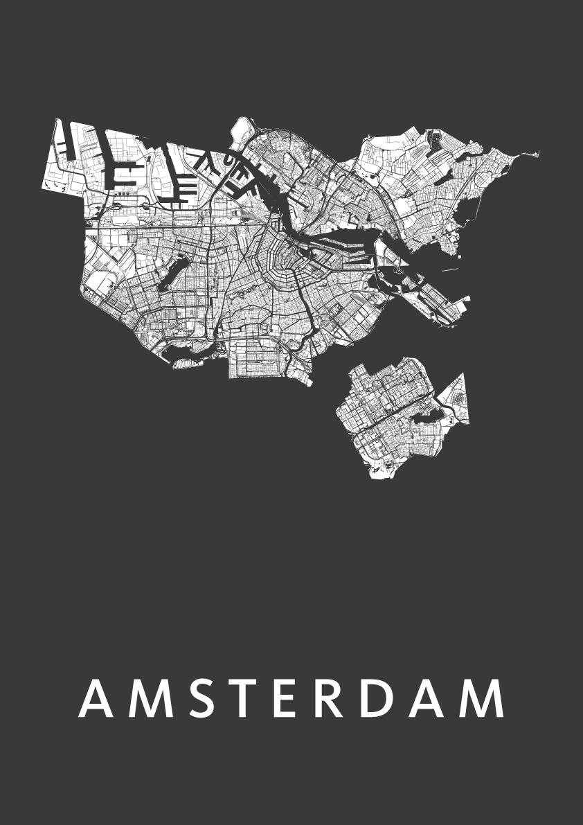 Amsterdam Black Stadskaart Poster   Kunst in Kaart