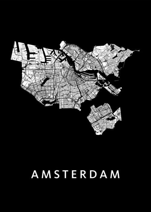 Amsterdam Stadskaart Poster