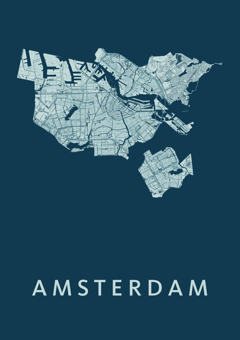 Amsterdam Feldgrau Stadskaart Poster | Kunst in Kaart