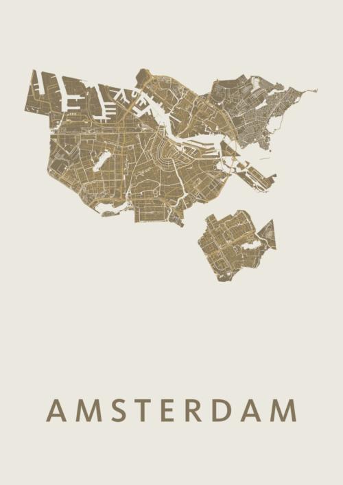 Amsterdam Gold Stadskaart Poster | Kunst in Kaart