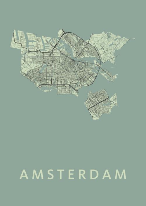 Amsterdam Olive Stadskaart Poster | Kunst in Kaart