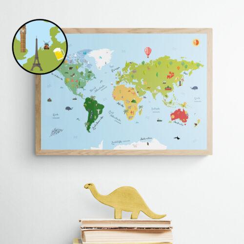 Wereldkaart Poster Kinderkamer Kinderen
