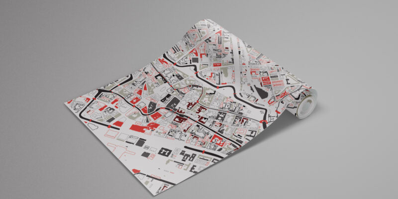 Foto behang stadskaart plattegrond